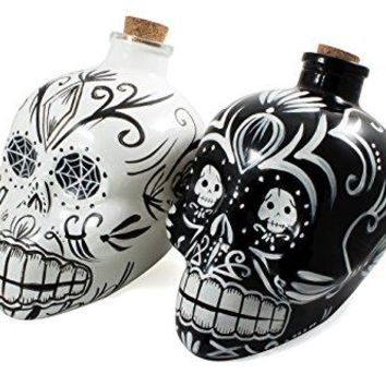 - Mexican Painted Candy Skulls Sugar Art Shaped Themed Glass Top Decanter