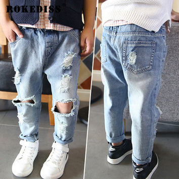 Baby Children Pants Tide Children Broken Hole Jeans New 2017 Spring Brand Boys Girls Jeans Pants 2-7Yrs High Quality G028