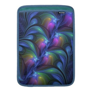Colorful Luminous Abstract Blue Pink Green Fractal Sleeve For MacBook Air