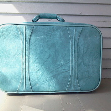 Vintage, Luggage,  American Tourister, Turquoise, Marbled, Vinyl, Suitcase