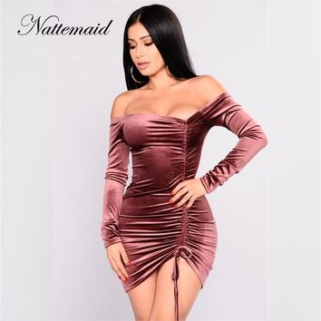 NATTEMAID 2018 Clearance Sale Red Sheath Bodycon Dress Women Long Sleeve Autumn Winter Dress Elegant Pencil Mini Dress Vestidos