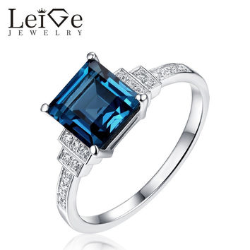 LEIGE JEWELRY LONDON BLUE TOPAZ RING SQUARE CUT 925 SILVER GEMSTONE RINGS FOR WOMEN WEDDING ANNIVERSARY GIFT FINE JEWELRY