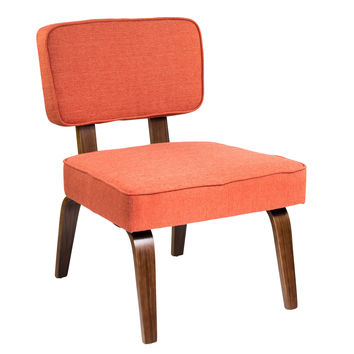 Nunzio Mid-Century Modern Accent Chair in Deep Orange Fabric by LumiSource