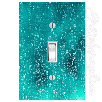 Water Droplets Light Switch Cover with Decal Water Dew Wall Art LS9