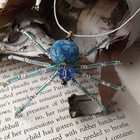Adorable Beaded Christmas Spider Ornament -- Blue/Silver