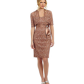 Emma Street 2-Piece Metallic Lace Jacket Dress - Mocha