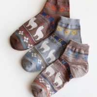 4 Alpacas Ankle Height Cotton Socks