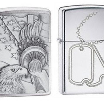 Zippo Lighter Set - Something Patriotic Emblem and Military Dog Tags Engraved Logo