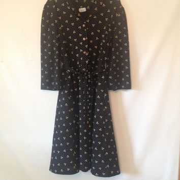 plus size black dress vintage black dress with white flowers 1980s VTG 80s XXL plus size clothing black dress with white flowers