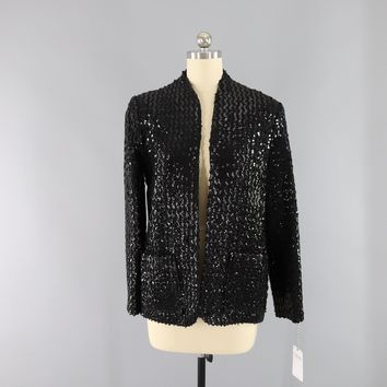 Vintage 1980s Black Sequined Jacket