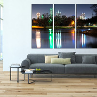 Art Canvas Print dallas Skyline night light , extra large wall art, large canvas art, Dallas city skyline wall art canvas print t73