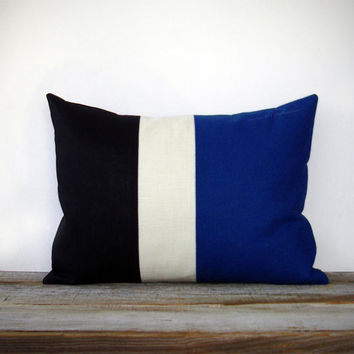 Cobalt Colorblock Stripe Pillow in Cream and Black Linen by JillianReneDecor - Black and White - Indigo Blue Striped Trio