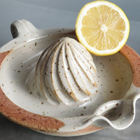 CERAMIC LEMON SQUEEZER pottery kitchen utensil useful orange squeezer in stoneware kitchen accessory cream color