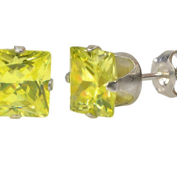 Square Peridot Cubic Zirconia Stud Earrings August Birthstone .925 Silver Prong