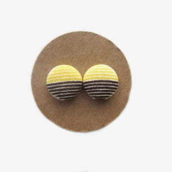 Lemon Candy Striped Fabric Earrings // Striped Studs // Summer // Fall // Nickel Free // Yellow // Gift for Her // Yellow Stud Earrings //