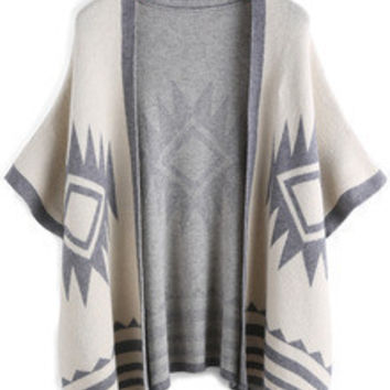 White and Grey Geometric Print Cardigan
