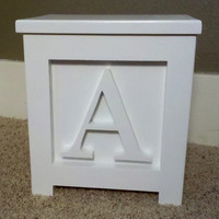 """Wooden Block Step Stool All White A Handmade 12"""" Tall Very Cool"""