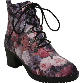 Satin Purple & Pink Floral Fabric Booties