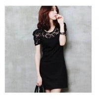 Joyful Round Neck Flowers Pattern Short Sleeves Shift Dress 2 Colors