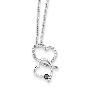 1/4 Ctw Black & White Diamond Double Heart Necklace in Sterling Silver