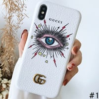 GUCCI star eye series iPhone8plus mobile phone shell leather hard shell #1