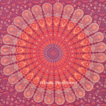 Red Multi Medallion Mandala Throw Wall Tapestry, Indian Hippie Tapestry Bedding on RoyalFurnish.com