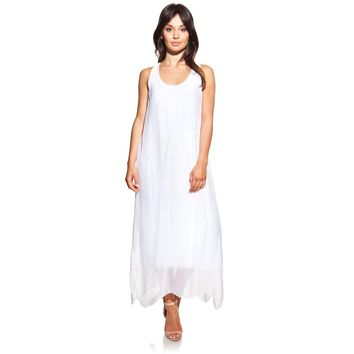 Maxi silk white dress with side openings