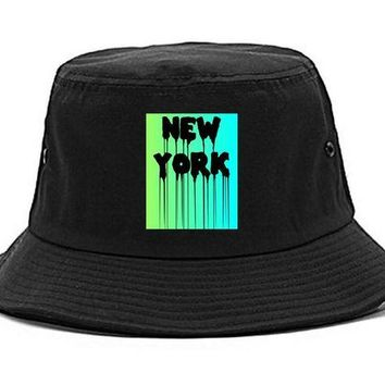 DCK4S2 Kings Of NY New York Dripping Paint Font Bucket Hat Cap