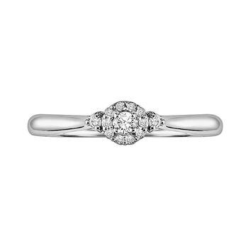 Cherish Always Round-Cut Diamond Frame Engagement Ring in 10k White Gold (1/8 ct. T.W.)