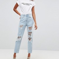 ASOS ORIGINAL MOM Jeans in Dex Aged Wash with Rips and Busts at asos.com