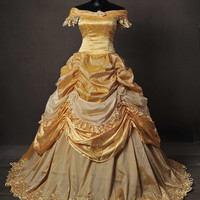 Golden Park Beauty and the Beast Belle Adult Cosplay Costume Gown Dress