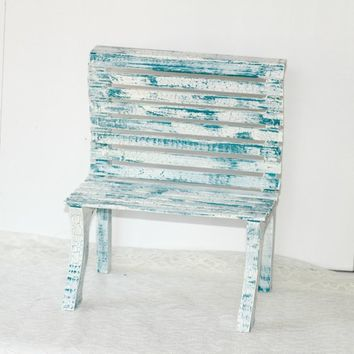 Toy Doll Bench Blue and White Crackle Finish for Doll Display or Stuffed Animal | Handcrafted Wooden Bench for Flowers or Centerpiece