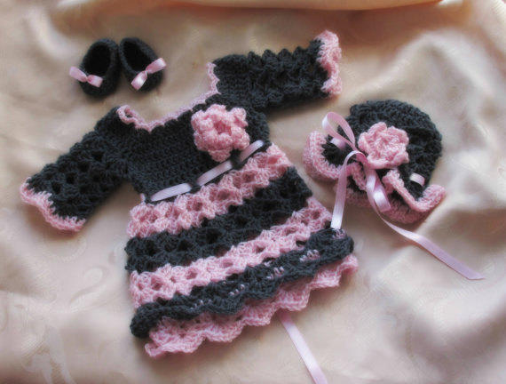 Crochet Baby Winter Dress Pattern : Crochet baby dress , hat shoes PATTERN , from Justpattern ...