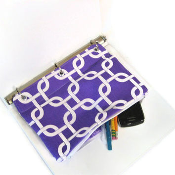 Binder Pencil Case Purple Organizing  Pencil Pouch for 3 Ring Binder  Purple & White Back to School kids gift organize geometric