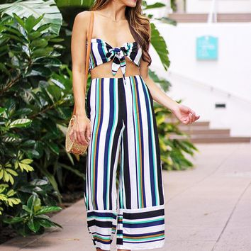 Ready To Leave Striped Two Piece Set (Multi/Green)