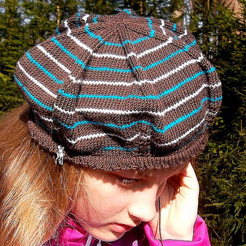 DIY PDF Pattern Knitted beret hat, easy ladies winter hat pattern, vintage inspired slouchy hat beginner tutorial