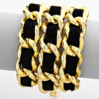 Black & Gold Chain Wrap Bracelet
