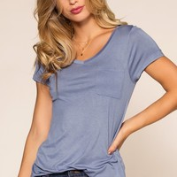 Kaylee Basic Top - Blue