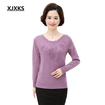 XJXKS High Quality New Fashion Women's Long Sleeve Solid Color Flowers Pullover Sweater Knitted Soft Jumper Top 59056