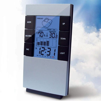 Digital LCD Clock Hygrometer Humidity Thermometer Clock