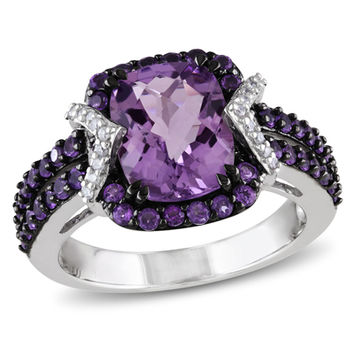 Cushion-Cut Amethyst and 1/6 CT. T.W. Diamond Ring in Sterling Silver with Black Rhodium Plate