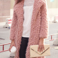 Long Sleeve Lapel Fur Long Coat