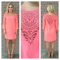Coral Libby Crochet Shift Dress