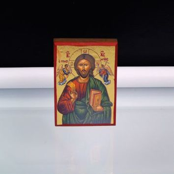 Orthodox Icon Christ the Pantocrator Eastern Europe Wall Mount Wood