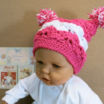 Crochet Baby Girl Hat with Pom Poms, Dark Pink And White Beanie, 0 Months to 4 Years, Photo Prop, Baby Shower Gift, Nchanted Gifts