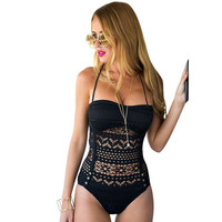 Feitong Women One Piece Swimsuit Swimwear Sexy High Waist Bodysuit Bandeau Padded Brazilian Monokinis Crochet Bathing Suits