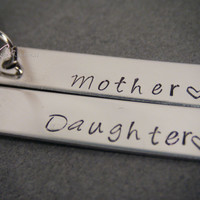 Mothers Day Gift, Mother Daughter Keychains, Stamped Keychains, Mom Gift, Mothers Gift, Rectangle keychains