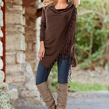 Women's Pinned fringe cardigan,skinny demin,buckle knee high boot by VENUS