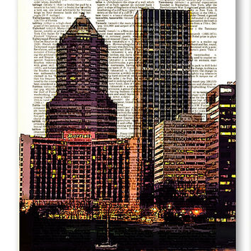 Portland, Oregon Skyline 3 pack dictionary prints City Scape awesome upcycled vintage dictionary page book art prints