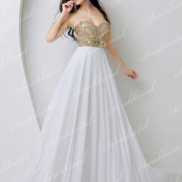 Fashion Sweetheart Empire Long Womens Prom Party Dresses Cocktail Gowns